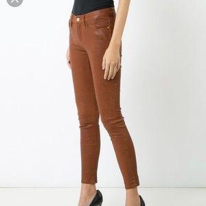 Frame Cognac Leather Pants